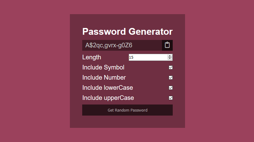 password generator app in javascript